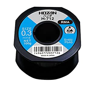 ホーザン(HOZAN) ハンダ スズ60% 鉛40%  重量100g 長さ200m 線径0.3mmΦ H-712