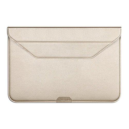 PLEMO iPad Pro レザーケース ブリーフケース 12-12.9インチ スタンド機能付き タブレット用保護スリーブケース surface pro 3/4 13in macbook surface book (ゴールデン)