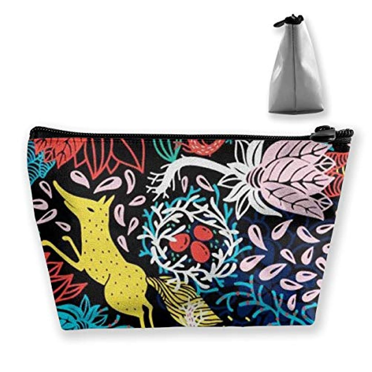 したがって慎重クッションキツネの夏の花 収納ポーチ 化粧ポーチ トラベルポーチ 小物入れ 小財布 防水 大容量 旅行 おしゃれ