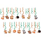 D DOLITY 約30枚 渦巻き スワール飾り 吊り装飾 可愛い動物柄 幼稚園 子供パーティー