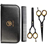 Merops Professional Hair Scissors and Hair Thinning Scissors Set 6.5-Stainless Steel Hairdressing Barber Hair Cutting Shears for Salons, Professional and Personal Use for Men, Women and Children (Black)