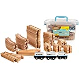 55 Piece Wooden Expansion Pack Train Set with Train Cars, Comes in A Clear Container, Compatible with All Major Brands