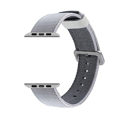 CUZOW ウォッチバンド ウーブンナイロンウォッチベルト Apple watch 用 (38mm, シルバー)