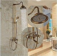 GOWE新しくアンティーク真鍮シャワーセット8-inラウンドシャワー蛇口セラミックハンドシャワー壁マウント