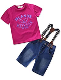 男の子 サロペット ボーイズ オーバーオール 男の子 Tシャツ セットアップ オーバーオール デニム  ショートパンツ 上下2点セット 80 90 100 110 120 130 1~7歳設定