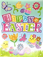 Happy Easter Chicks花と卵Vinyl Window Clings
