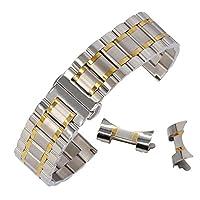 男性用の腕時計のための21ミリメートルのファッションステンレス製のリストバンドは磨かウォッチストラップ2トーンシルバー&ゴールドをブラッシュ
