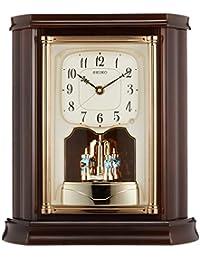 セイコー クロック 置き時計 電波 アナログ 回転飾り 木枠 濃茶 木地 BY233B SEIKO