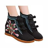 エスニックスタイルラインストーン刺繍アンクルブーツファッションカジュアルスニーカーハイヒールの靴 (ブラック,22cm)