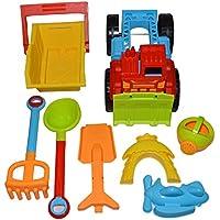 JL SHOP 子供 カラフルビーチ玩具 お出かけ砂場遊び おままごと 車砂場セット おもちゃ 海や公園に行こう 7点セット (A)