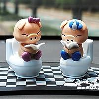 Liebeye 置物 車載 2本セット 太陽動力 動ける トイレカップル豚 人形 ヘッド 車 おもちゃ 自動車 装飾 かわいい