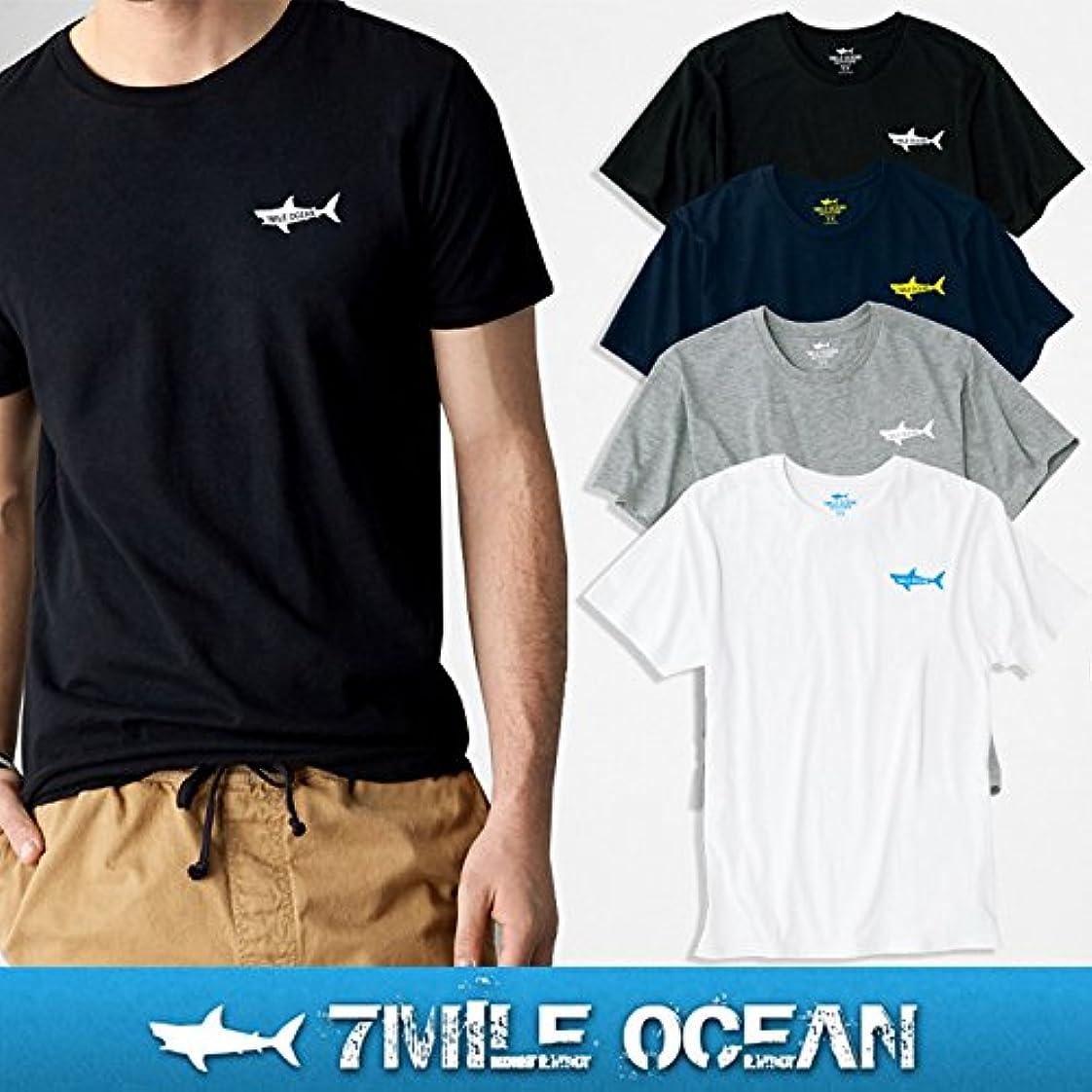 ラベンダー平和なぶら下がる7MILE OCEAN メンズ 半袖 Tシャツ プリント クルーネック ロゴ ワンポイント 無地 ボーダー グレー/黒 ホワイト/グレー 通販限定 S M L XL 大き目 大きい ビッグサイズ対応 svm0005