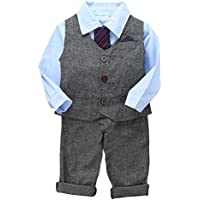 Weixinbuy Boys' Long Sleeve Tie Shirts +Vest +Pants Casual Suit 3Pcs Clothing