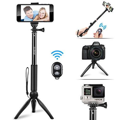 自撮り棒 スマホ セルカ棒 Bluetooth 三脚 ワイヤレス リモコン シャッター付き 軽量 360度回転 iPhone X iPhone8 iPhone7 iPhone 6s Android GoPro カメラ 対応 (ブラック)