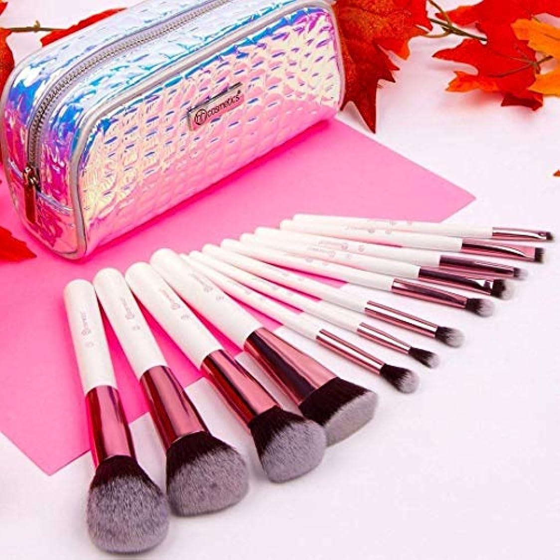 ドームなしで色BH cosmetics メイクブラシ アイシャドウブラシ 化粧筆 12本セット コスメブラシ 多機能メイクブラシケース付き収納便利 (12本セット)