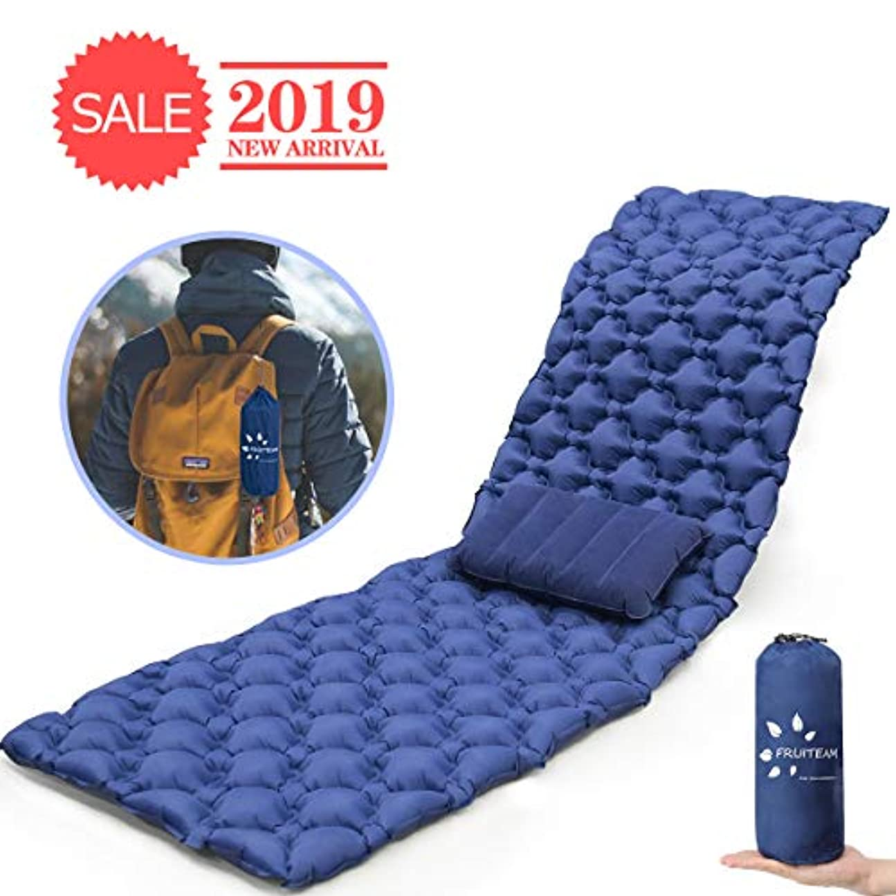 一口解明癌FRUITEAM バックパック キャンプ用スリーピングパッド 旅行用枕付き 超軽量スリーピングバッグパッド 軽量 膨らませ可能 コンパクト 耐久性 TPU 膨張式スリーピングパッド エアマットレス