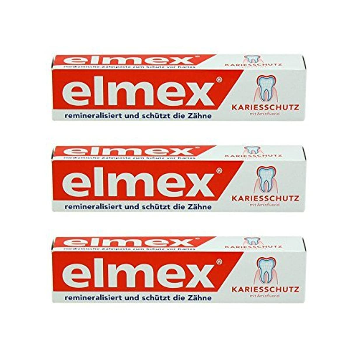 従順反対するファッションELMEX Caries Protection Toothpaste with Amine Fluoride 3 x 75ml by Elemx