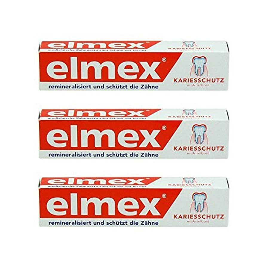 アナログ誤解する磨かれたELMEX Caries Protection Toothpaste with Amine Fluoride 3 x 75ml by Elemx