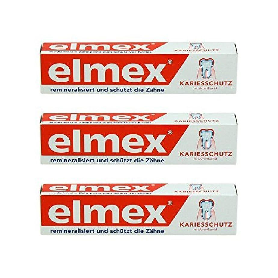 こする優先複雑なELMEX Caries Protection Toothpaste with Amine Fluoride 3 x 75ml by Elemx