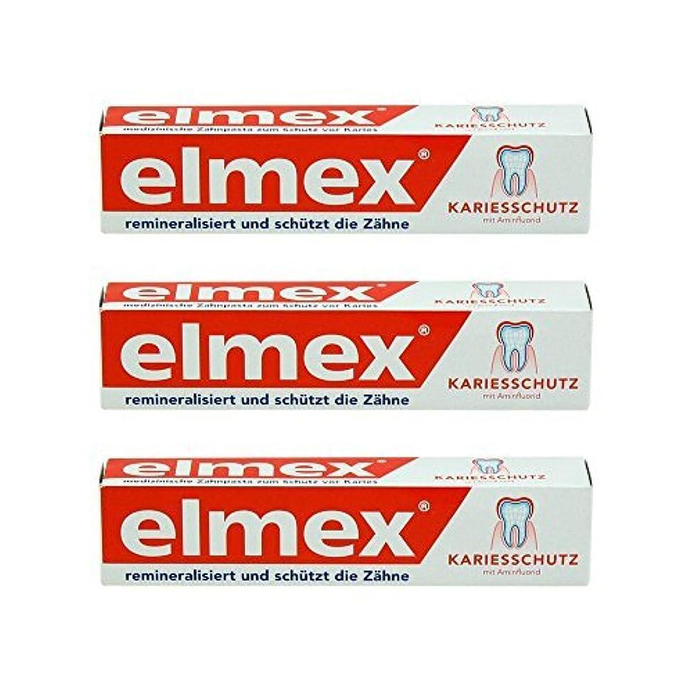ドラフトアカデミー過度にELMEX Caries Protection Toothpaste with Amine Fluoride 3 x 75ml by Elemx