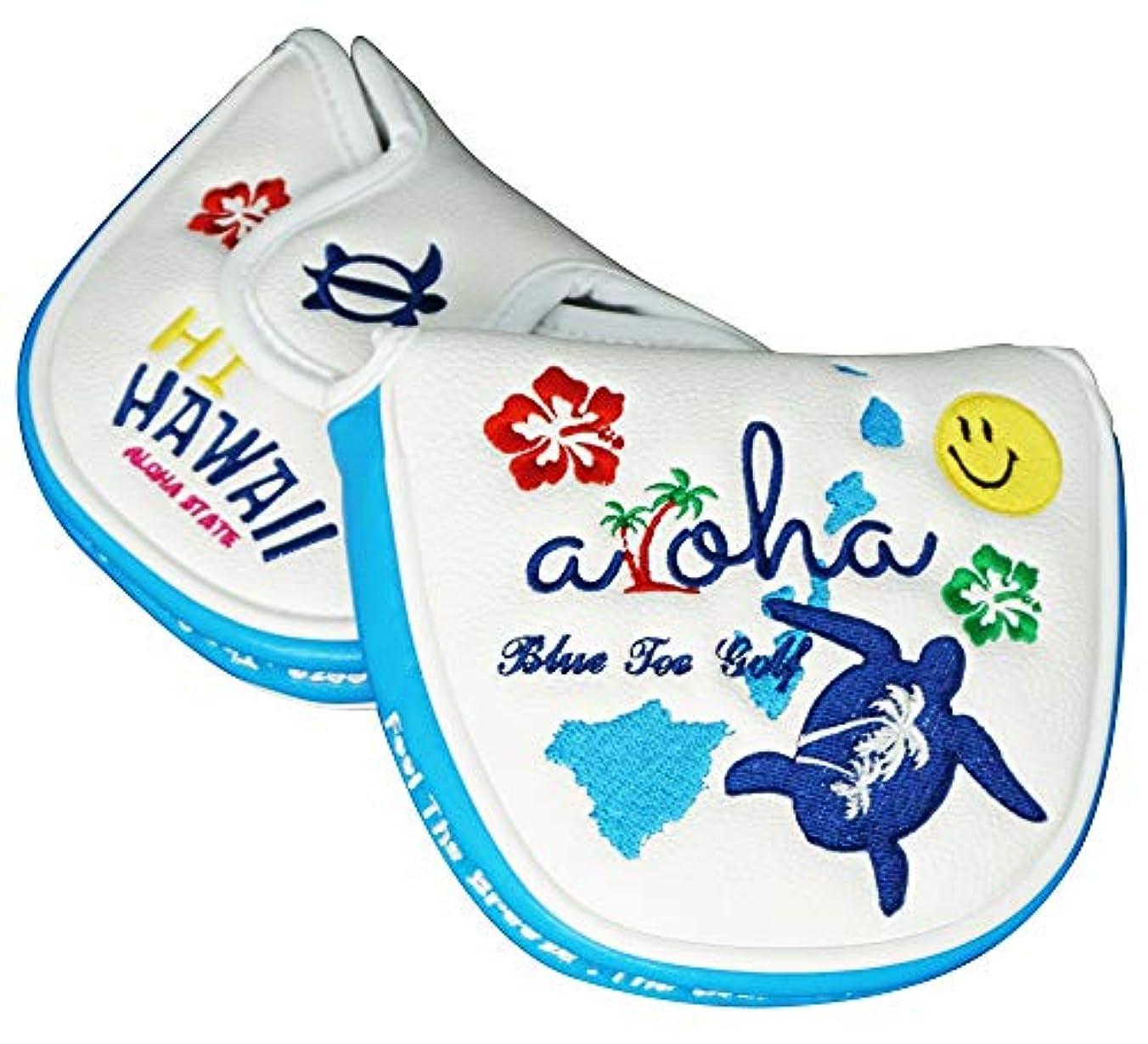 葉を集める同意食堂☆ブルーティーゴルフ BLUE TEE GOLF California 【Hi-Hawaii ハイ ハワイ】マレット型パター ヘッドカバー