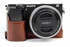 ソニーアルファ6300 6000 Sony α6000 α6300 A6300 A6000 ILCE-6300 ILCE-6000半カメラカバー 半カメラケース、Koowl手作りのトップクラスのPUレザーカメラボディージャケット、保護袋、台座の透かし彫り+ハンドストラップ(カメラストラップ)、防水、防振、ポータブル(コーヒー色)