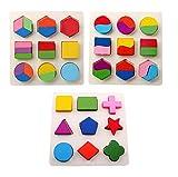 木のおもちゃ 幾何認知 形合わせ 積み木 型はめ パズル 幼児 知育玩具 3点セット 画像