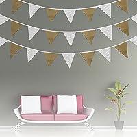 FantasyRe 結婚式 ガーランド フラッグガーランド 誕生日 黄麻布製 三角旗 DIY バナー キャンプ クリスマス 二次会 お祝い飾りパーティー バースデー