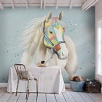 Yosot シンプルなデザインのベッドルームの背景 3d壁紙芸術創造の白い馬の壁画のリビングルームベッドルームソファ壁紙-450cmx300cm