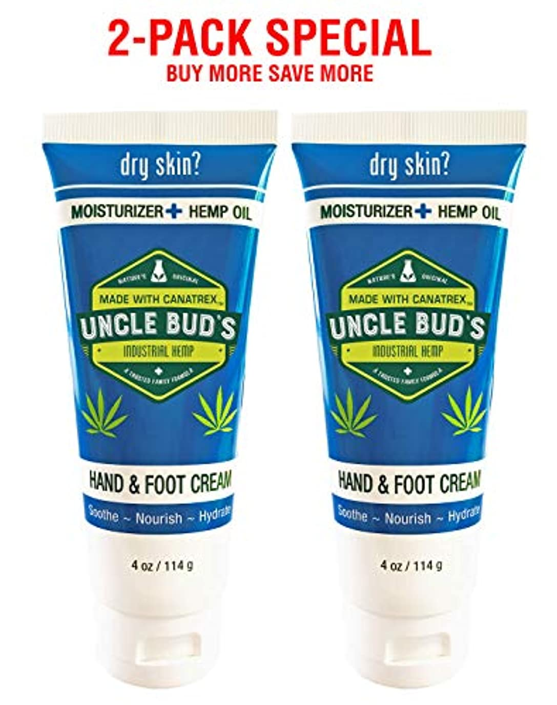 Uncle Bud's 2-Pack Special - Hand and Foot Cream HEMP Oil - 4oz per tube