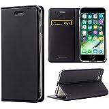 【改善版】 iPhone8 ケース / iPhone7ケース 手帳型 薄型 カード収納 耐衝撃 アイフォン8/7 カバー ブラック