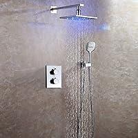 現代壁マウント2つ雨シャワー温度調節LEDセラミックバルブハンドル3つ