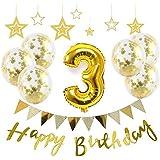 【Big Hashi 】お子様誕生日パーティー HAPPY BIRTHDAY アルミニウム 数字(3)バルーンゴールド 誕生日 飾り付け セット (js-j03)