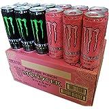 モンスターエナジードリンク エナジーとパイプラインパンチ(緑・ピンク) ハーフ&ハーフ 355ml缶×24本入り 1ケース