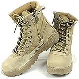 (K-JOY) ミリタリーブーツ タクティカルブーツ 迷彩 ライダーブーツ 作業靴 シューズ サイドジッパー サバゲ (38 約24.0cm, TAN 丸紐)