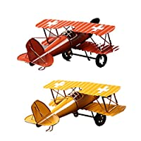 Perfk 2個 ビンテージ メタル 飛行機モデル 家 装飾 子供 おもちゃ 耐久性