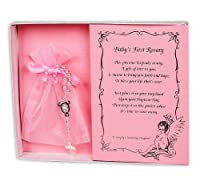 Pearl Baby Baptism Rosary with Lace Bag (Pink) by Simply Charming