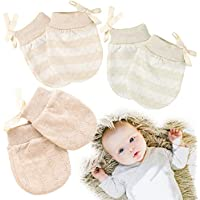 Kalevel 3 Pairs Newborn Baby Mittens No Scratch Cotton Gloves 0-2 Years Mixed Colors