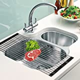 Over the Sink Dish Rack Roll-Up Dish Drying Rack Multipurpose Dish Drainer Collapsible Kitchen Sink Rack