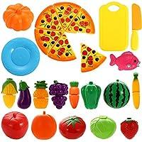 juledキッチンおもちゃFun Cutting Fruits野菜Pretend Foodプレイセットfor子供少女少年教育Early Age基本スキル開発24pcsセット