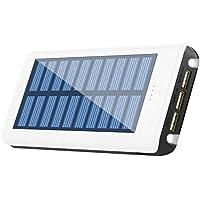 RuiPu ソーラーチャージャー モバイルバッテリー 24000mah大容量 電源充電可 QuickCharge 超急速充電対応 スマホ充電器3USB出力ポート(2A+2A+1A) 携帯用の充電器 二個LEDランプ搭載 災害/旅行/アウトドアに大活躍に対応 収納防水ボーチ付属(WHITE)