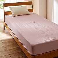 [ベルメゾン] フレンチリネンボックスシーツ型敷きパッド ピンク サイズ:シングル