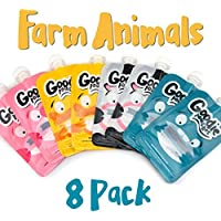 Goodie Pouches Reusable Homemade Puree and Smoothie Baby Squeeze Pouches for Kids (8pk Farm Animals) [並行輸入品]