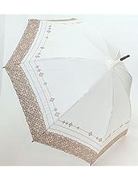 高級傘 パラソル 日傘 上品な 綿麻 無地 多頭ボーラー刺繍 UV加工 50cm 長傘 婦人傘