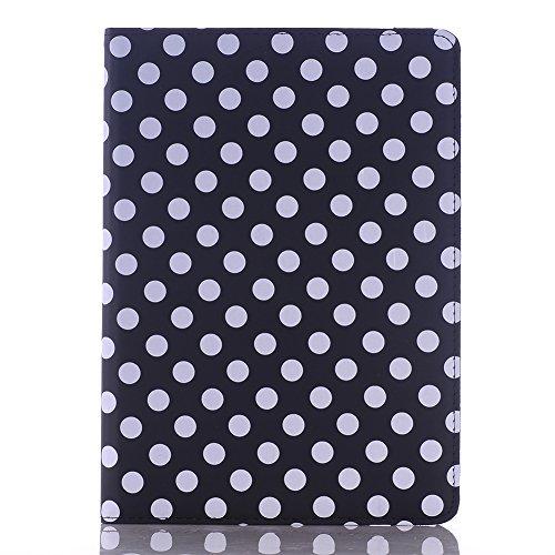 iPad mini4 ケース アイパッドミニ4 アイパットミニ4 カバー レザー Teddy®ブランド スタンド機能 かわいい タブレットPC カバーケース ipad mini 4 オートスリープ 軽量 革 軽い おしゃれ アクセサリー 360度回転 ドット柄 ipadmini4-1107 (ブラック)
