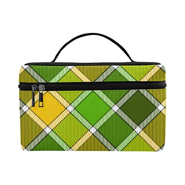発言するフォージ部屋を掃除するTELSG メイクボックス 黄色い緑格子縞 コスメ収納 化粧品収納ケース 大容量 収納ボックス 化粧品入れ 化粧バッグ 旅行用 メイクブラシバッグ 化粧箱 持ち運び便利 プロ用