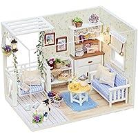fenteer新しい3d DIYミニチュアドールハウス家具セットwithダストカバーとLED Dolls House Constructionキット誕生日ギフト子猫日記