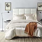 dushowホワイトサテンシルクLikeソリッドカラー寝具セット布団カバーセット クイーン ホワイト