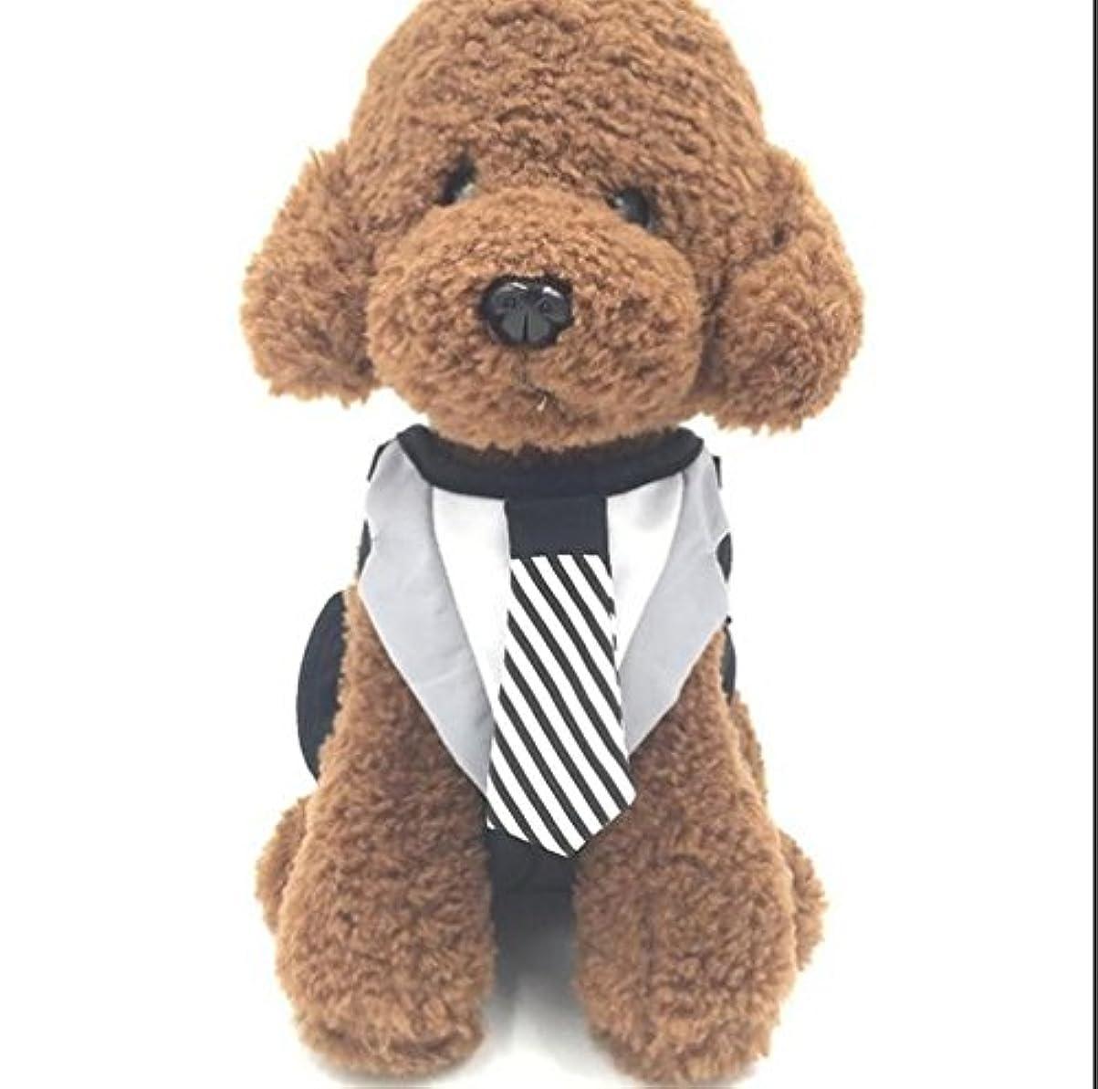 細部正規化学部【560kick】 白黒ネクタイ タキシード風 ハーネス リード セット 巾着袋型 3サイズ (L)