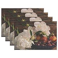 Rhスタジオプレートパッド花牡丹チェリーネクタリン耐熱テーブルプレースマットのセット4ステイン耐性テーブルマット洗える食べ物マットホームディナー装飾